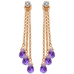 14K Solid Rose Gold Chandelier Earrings w/ Diamonds & Amethysts