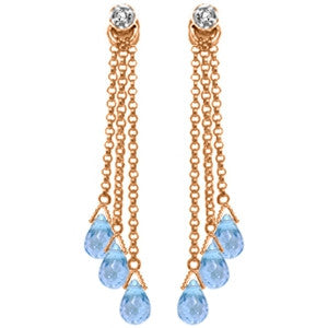 14K Solid Rose Gold Chandelier Earrings w/ Diamonds & Blue Topaz