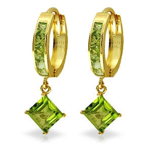 4 CTW 14K Solid Gold Hoop Earrings Dangling Peridot