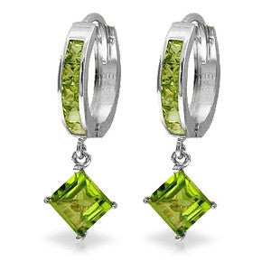 4 Carat 14K Solid White Gold Hoop Earrings Dangling Peridot