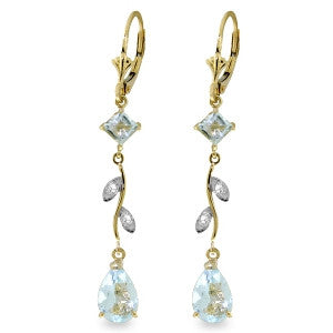 3.97 Carat 14K Solid Gold Chandelier Earrings Natural Diamond Aqua