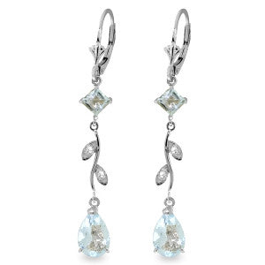 3.97 Carat 14K Solid White Gold Chandelier Earrings Natural Diamond Aquamar