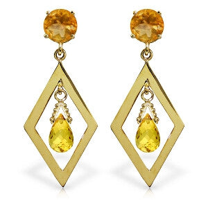 2.4 Carat 14K Solid Gold Euphoria Citrine Earrings