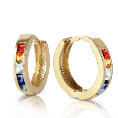 1.3 CTW 14K Solid Gold Hoop Earrings Multicolor Sapphire