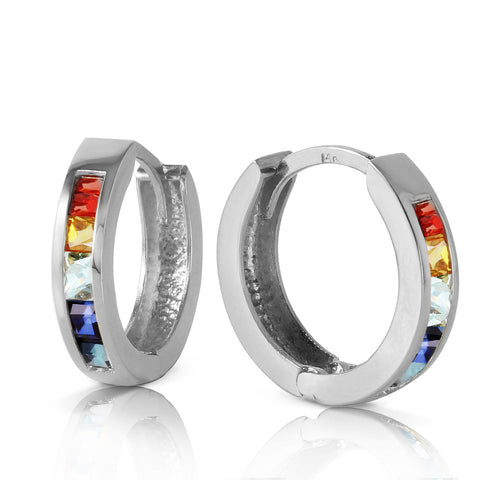 1.3 Carat 14K Solid White Gold Hoop Earrings Multicolor Sapphire