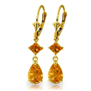 4.5 Carat 14K Solid Gold Beaute Citrine Earrings