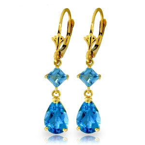 4.5 CTW 14K Solid Gold Beaute Blue Topaz Earrings