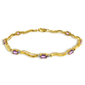 2.16 Carat 14K Solid Gold Tennis Bracelet Diamond Amethyst