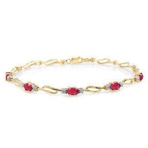 4.21 Carat 14K Solid Gold Tennis Bracelet Ruby Diamond