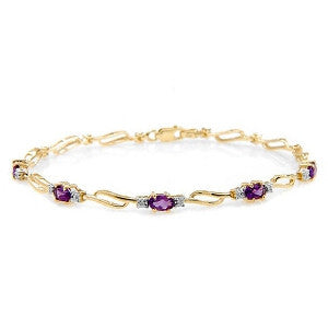 2.96 Carat 14K Solid Gold Tennis Bracelet Amethyst Diamond