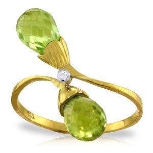 2.52 CTW 14K Solid Gold Ring Diamond Briolette Peridot