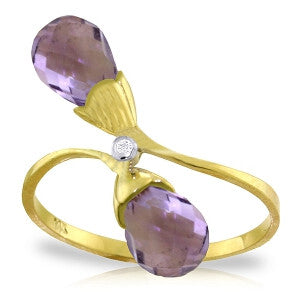 2.52 Carat 14K Solid Gold Ring Diamond Briolette Purple Amethyst