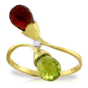 2.52 Carat 14K Solid Gold Ring Diamond Briolette Garnet, Citrine
