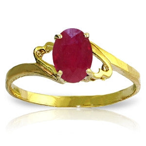 1.15 Carat 14K Solid Gold Ring Natural Ruby