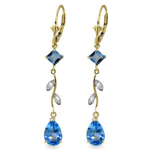 3.97 Carat 14K Solid Gold Chandelier Earrings Natural Diamond Blue Topaz