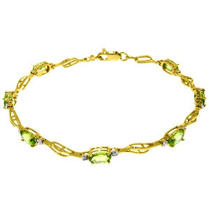 3.39 Carat 14K Solid Gold Tennis Bracelet Peridot Diamond