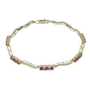 1.76 Carat 14K Solid Gold Dance The Foxtrot Ruby Diamond Bracelet