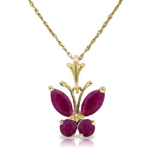 0.6 Carat 14K Solid Gold Butterfly Necklace Natural Ruby