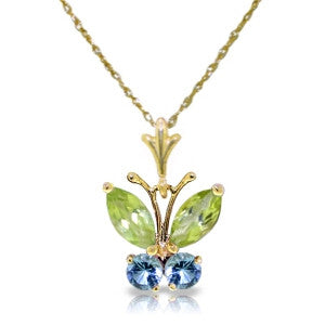 0.6 Carat 14K Solid Gold Butterfly Necklace Blue Topaz Peridot