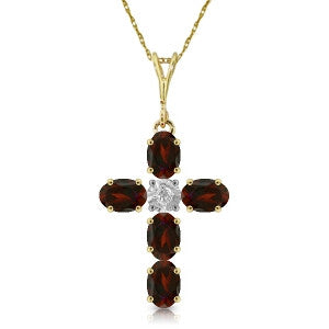 1.88 Carat 14K Solid Gold Cross Necklace Natural Diamond Garnet