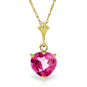1.15 Carat 14K Solid Gold As I Lay Pink Topaz Necklace