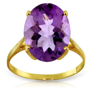 7.55 CTW 14K Solid Gold Ring Natural Oval Purple Amethyst