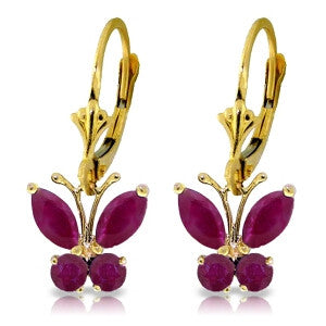 1.24 Carat 14K Solid Gold Butterfly Earrings Natural Ruby