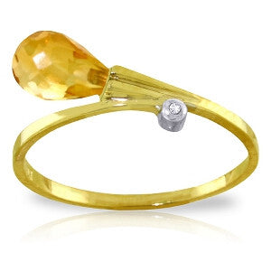 1.51 Carat 14K Solid Gold Ring Diamond Briolette Citrine