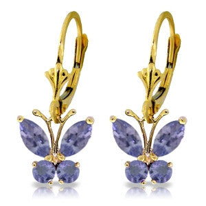 1.24 Carat 14K Solid Gold Butterfly Earrings Natural Tanzanite