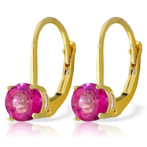 1.3 Carat 14K Solid Gold Ageless Pink Topaz Earrings