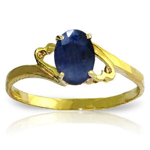 1 Carat 14K Solid Gold Rings Natural Sapphire