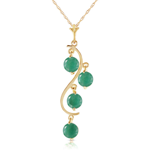 2 Carat 14K Solid Gold House Of Love Emerald Necklace
