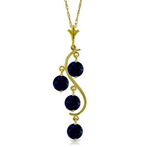 2 CTW 14K Solid Gold Don't Deny Love Sapphire Necklace