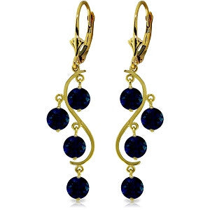 4 Carat 14K Solid Gold Chandelier Earrings Natural Sapphire