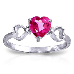 0.96 CTW 14K Solid White Gold Ring Diamond Pink Topaz