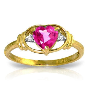 0.96 Carat 14K Solid Gold Breathgiving Pink Topaz Diamond Ring