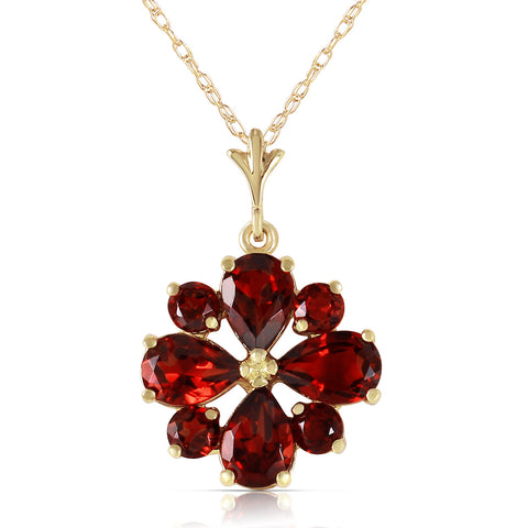 2.43 Carat 14K Solid Gold Balladeer Garnet Necklace