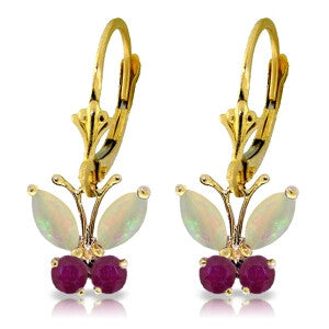 1.39 Carat 14K Solid Gold Butterfly Earrings Opal Ruby