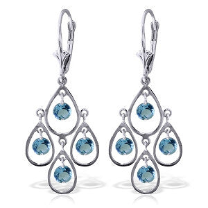 2.4 Carat 14K Solid Gold Almost Daylight Blue Topaz Earrings
