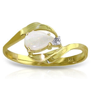 0.26 Carat 14K Solid Gold Ring Natural Diamond Opal