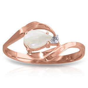 0.26 Carat 14K Solid Rose Gold Ring Natural Diamond Opal