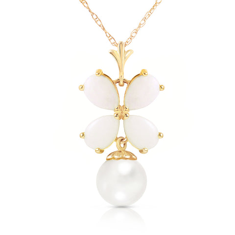 3 Carat 14K Solid Gold Deco Blanc Opal Pearl Necklace
