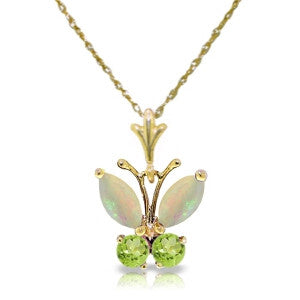 0.7 CTW 14K Solid Gold Butterfly Necklace Opal Peridot