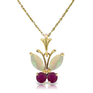 0.7 Carat 14K Solid Gold Butterfly Necklace Opal Ruby