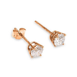 0.2 Carat 14K Solid Rose Gold Stud Earrings 0.20 Carat Natural Diamond