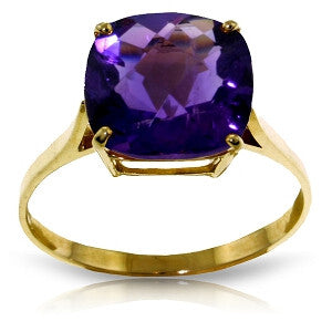 3.6 Carat 14K Solid Gold Ring Natural Checkerboard Cut Purple Amethyst