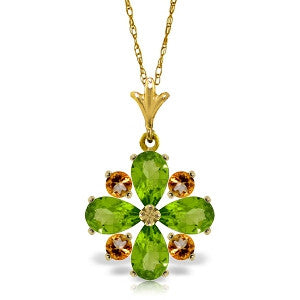 2.43 Carat 14K Solid Gold Amethyst Of Love Peridot Citrine Necklace