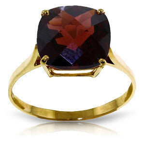 4.5 CTW 14K Solid Gold Ring Natural Checkerboard Cut Garnet