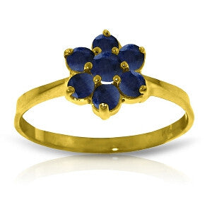 0.66 CTW 14K Solid Gold Ring Natural Sapphire
