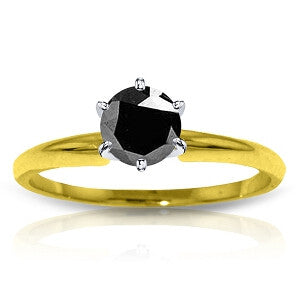14K Solid Gold Solitaire Ring 0.50 Carat Black Diamond